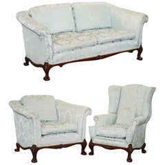 Lovely Brights of Nettlebed Three Piece Sofa & Armchair Suite Damask Upholstery