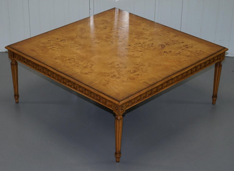 We are delighted to this stunning Burr Walnut centre occasional table with Lion hairy paw feet