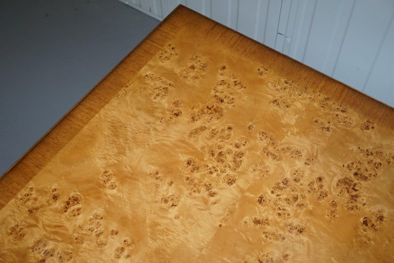 20th Century Lovely Burr Walnut Centre Occasional Table with Lion Hairy Paw Feet Lamp Side For Sale