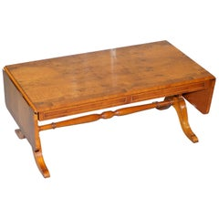 Lovely Burr Yew Wood Extending Coffee Cocktail Table by Bevan Funnell Part Suite