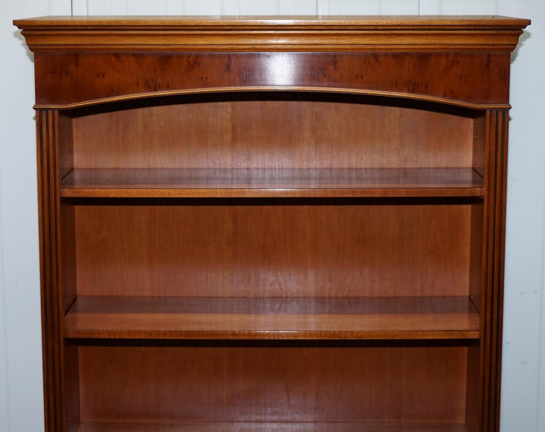 English Lovely Burr Yew Wood Library Legal Bookcase with Height Adjustable Shelves For Sale