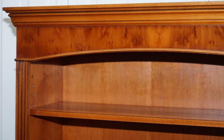 Hand-Crafted Lovely Burr Yew Wood Library Legal Bookcase with Height Adjustable Shelves For Sale
