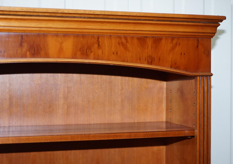 Lovely Burr Yew Wood Library Legal Bookcase with Height Adjustable Shelves For Sale 3