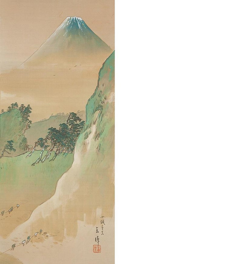 Taisho Lovely circa 1900 C-Scroll Paintings Japan Artist Signed Figures in Landscape For Sale