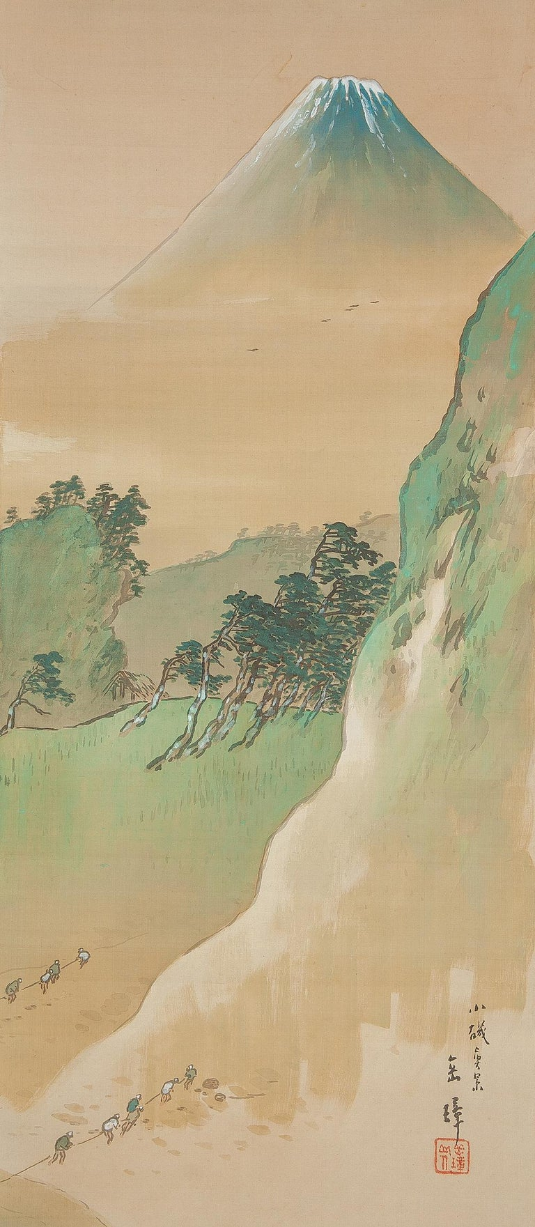Japanese Lovely circa 1900 C-Scroll Paintings Japan Artist Signed Figures in Landscape For Sale
