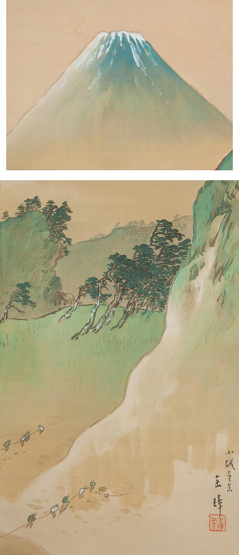 20th Century Lovely circa 1900 C-Scroll Paintings Japan Artist Signed Figures in Landscape For Sale