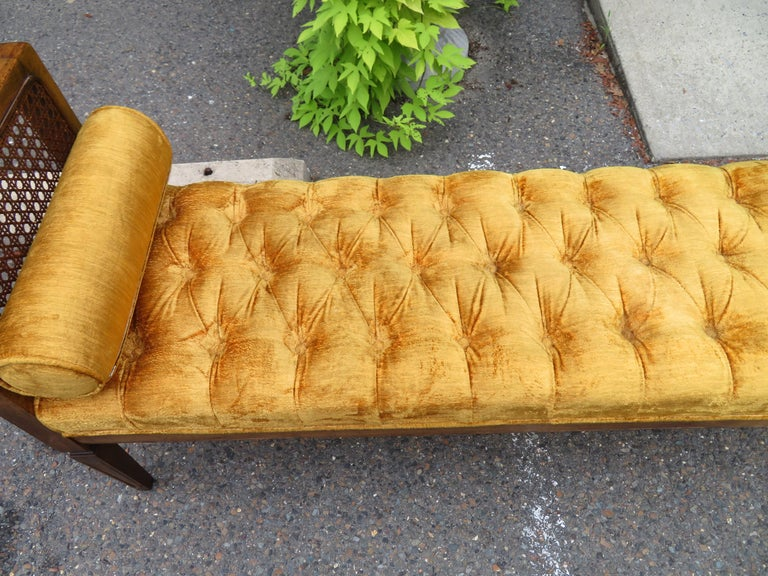 Lovely Caned Walnut Tufted Bench Mid-Century Modern For Sale 4
