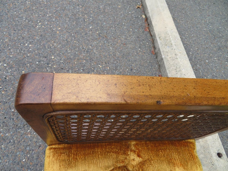 Lovely Caned Walnut Tufted Bench Mid-Century Modern For Sale 5