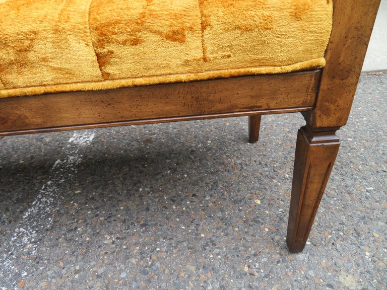 Lovely Caned Walnut Tufted Bench Mid-Century Modern For Sale 6