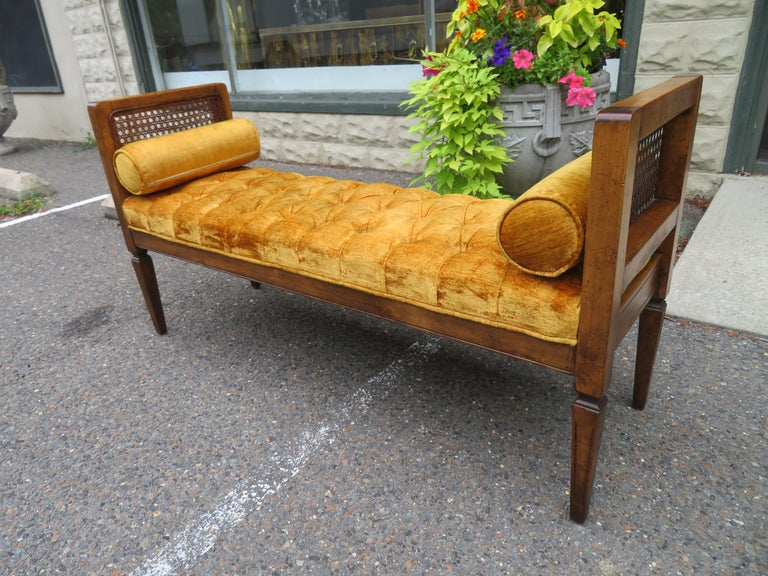 Lovely Caned Walnut Tufted Bench Mid-Century Modern For Sale 7