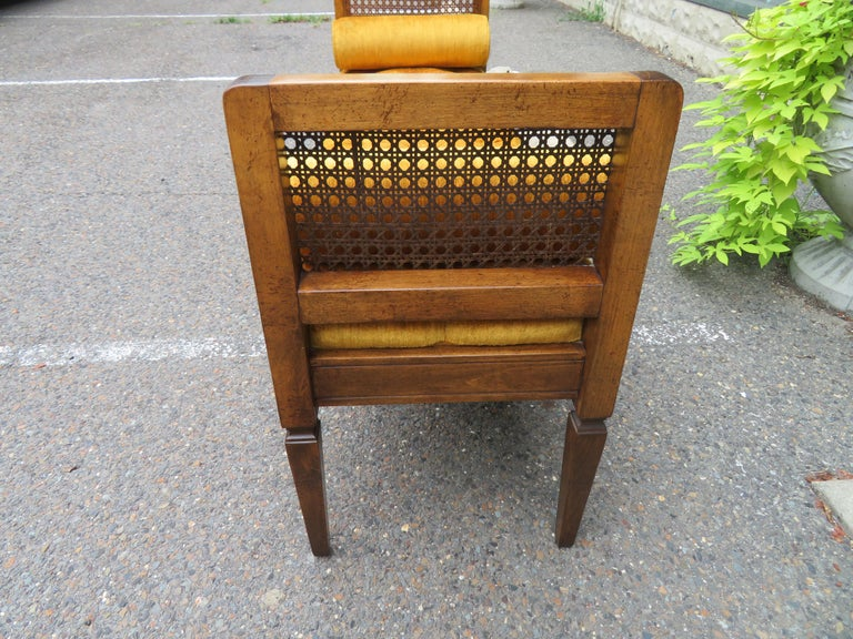 American Lovely Caned Walnut Tufted Bench Mid-Century Modern For Sale