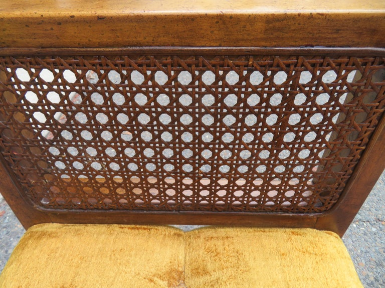 Mid-20th Century Lovely Caned Walnut Tufted Bench Mid-Century Modern For Sale