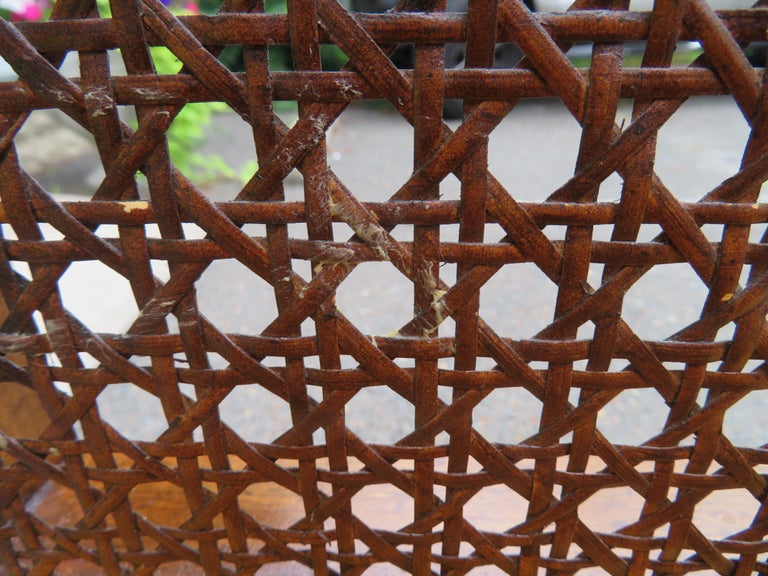 Upholstery Lovely Caned Walnut Tufted Bench Mid-Century Modern For Sale
