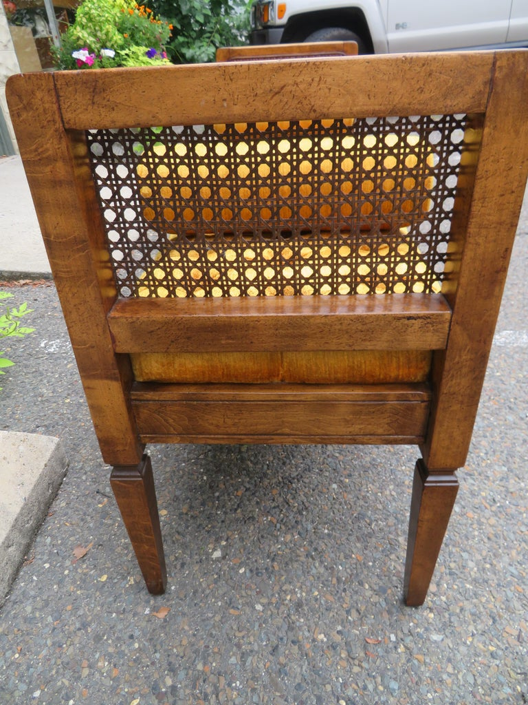 Lovely Caned Walnut Tufted Bench Mid-Century Modern For Sale 2