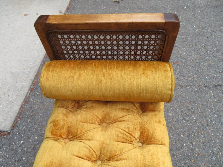 Lovely Caned Walnut Tufted Bench Mid-Century Modern For Sale 3