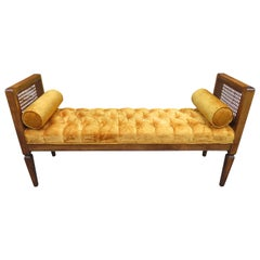 Lovely Caned Walnut Tufted Bench Mid-Century Modern