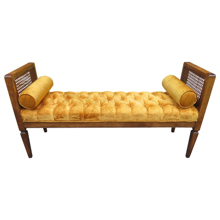 Lovely Caned Walnut Tufted Bench Mid-Century Modern For Sale