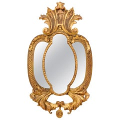 Lovely Carved and Giltwood Mirror with Acanthus Leaf Motif, Mid-20th Century