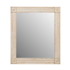 Lovely Carved and Painted Wood Vintage Mirror in Pale Blue and Cream Wash