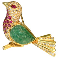 Lovely Carved Emerald Ruby and Diamond Bird Brooch