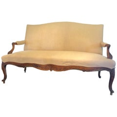 Lovely Carved Wood and Newly Upholstered Loveseat Sofa