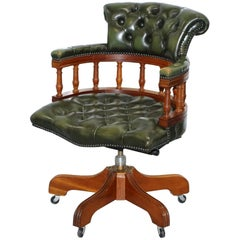 Lovely Chesterfield Directors Green Leather Executive Captains Office Chair
