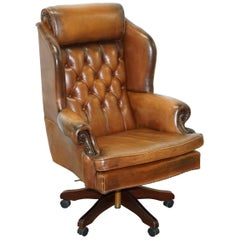 Lovely Chesterfield Presidents High Back Brown Leather Directors Captains Chair