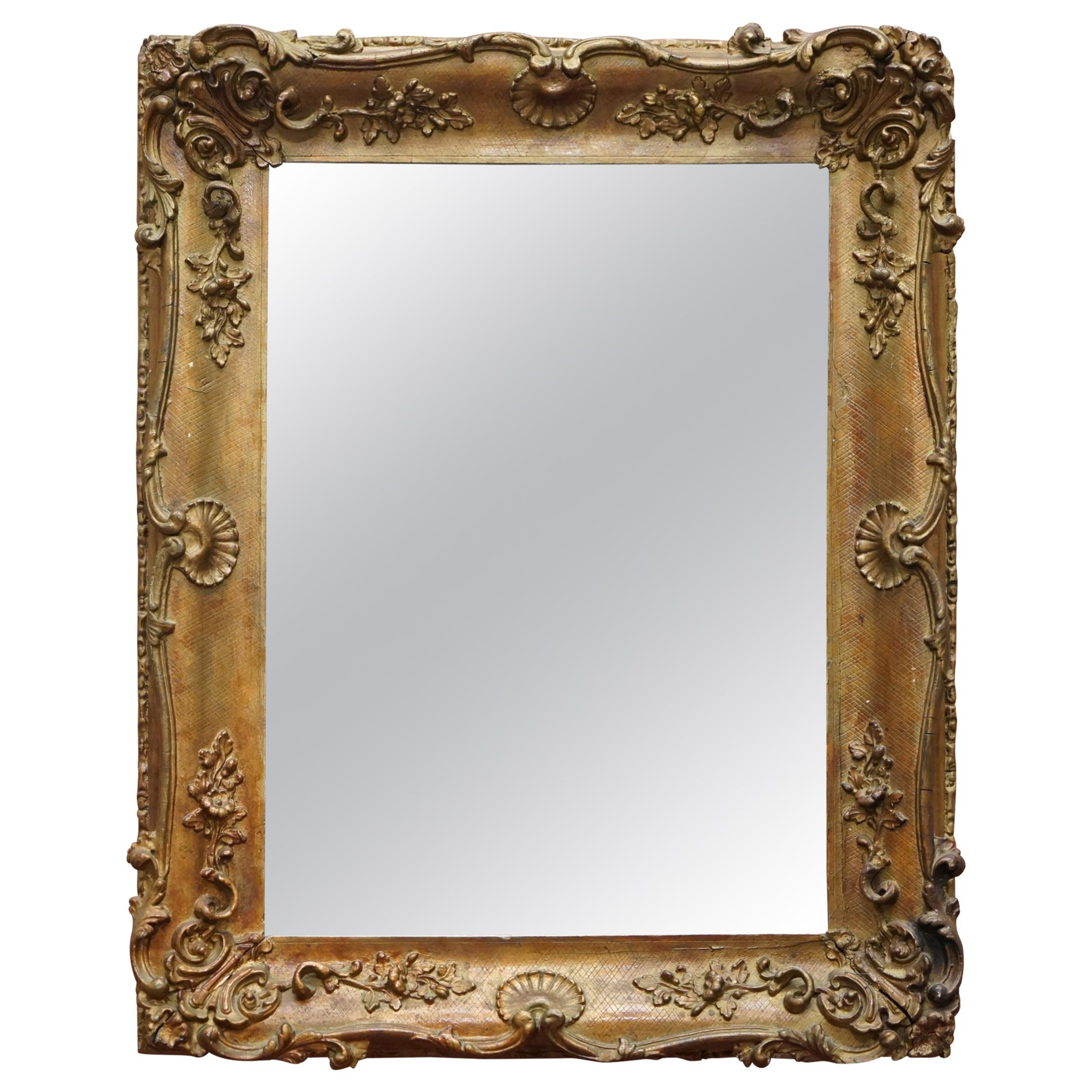 Lovely circa 1880-1900 French Giltwood Wall Mirror with Ornately Carved Frame