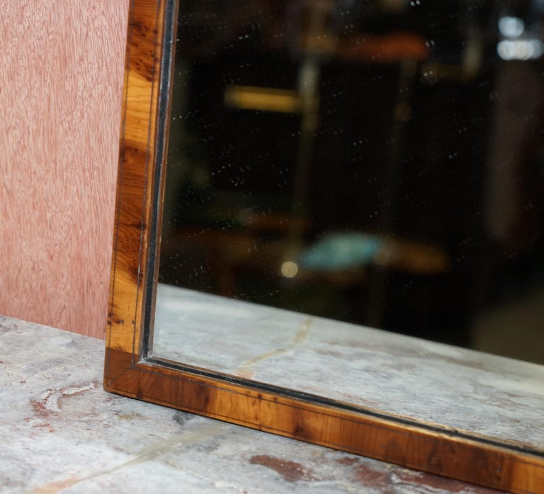 English Lovely circa 1880 Victorian Walnut Framed Original Plate Glass Wall Mirror For Sale