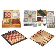Lovely circa 1890 Victorian Hardwood Games Compendium Chess Horse Racing Dice