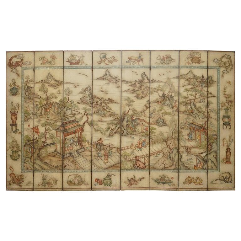 Lovely circa 1900-1920 Qing Dynasty Canvas Chinese 8-Panel Folding Screen For Sale