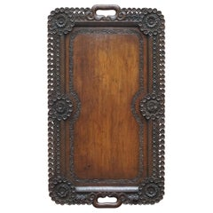 Lovely circa 1900 Anglo-Indian Hand Carved Burmese Wood Serving Tray