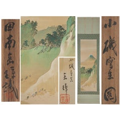 Lovely circa 1900 C-Scroll Paintings Japan Artist Signed Figures in Landscape