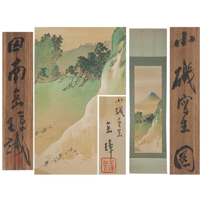 Lovely circa 1900 C-Scroll Paintings Japan Artist Signed Figures in Landscape For Sale