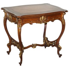 Lovely circa 1900 Late Victorian French Pine Brown Leather Gold Gilt Desk Table