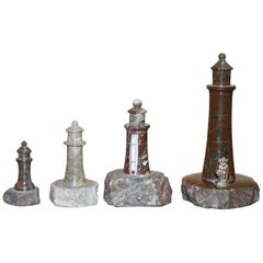 Lovely Collection of Four Antique Small Solid Marble Statues of Lighthouses