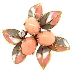 Lovely Coral and Diamond Enamel Brooch in 18 Karat Yellow Gold