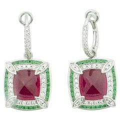 Lovely Dangling Rubellite & Tsavorite Garnet & Diamond Earrings in 18 Karat Gold