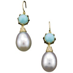 Lovely Dangling South Sea Pearl and Turquoise Earrings in 18 Karat Yellow Gold