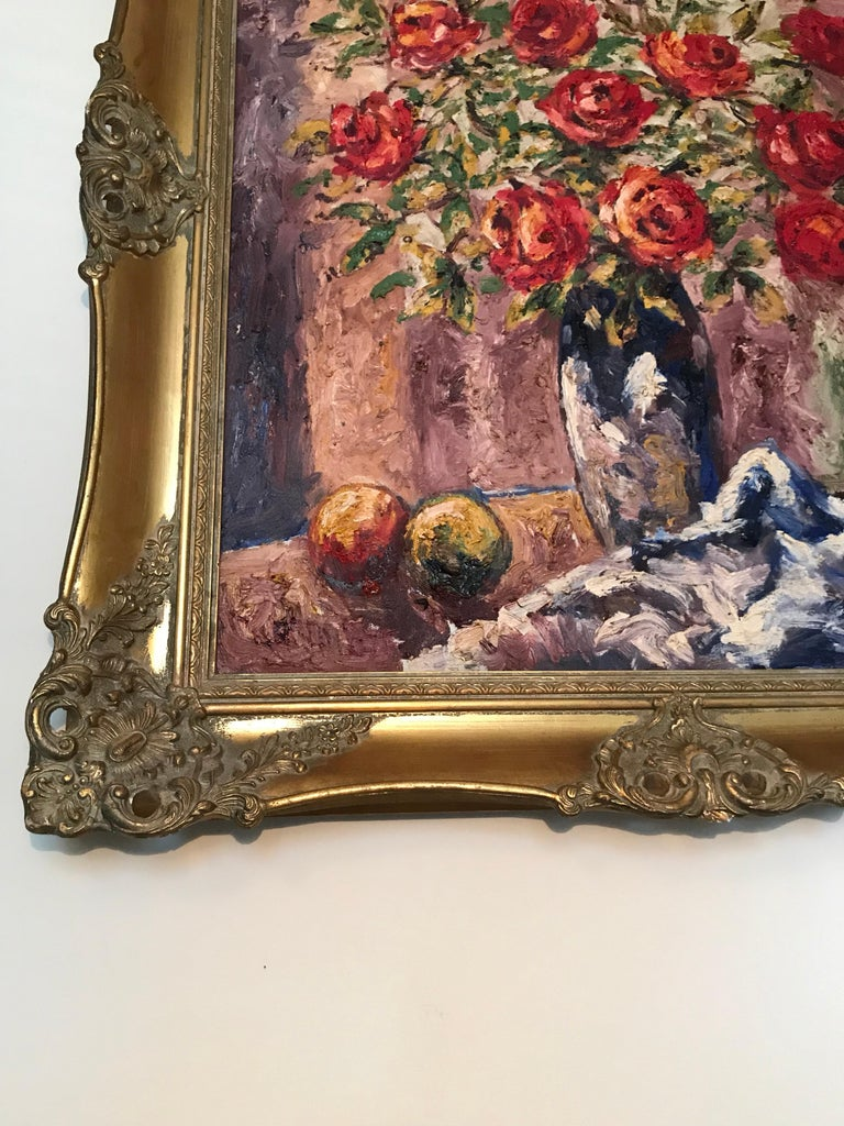 Victorian Lovely Danish Antique Oil on Canvas Painting by Braabye For Sale