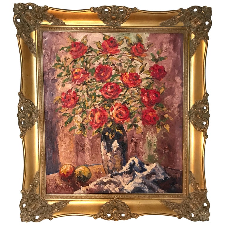 Lovely Danish Antique Oil on Canvas Painting by Braabye For Sale