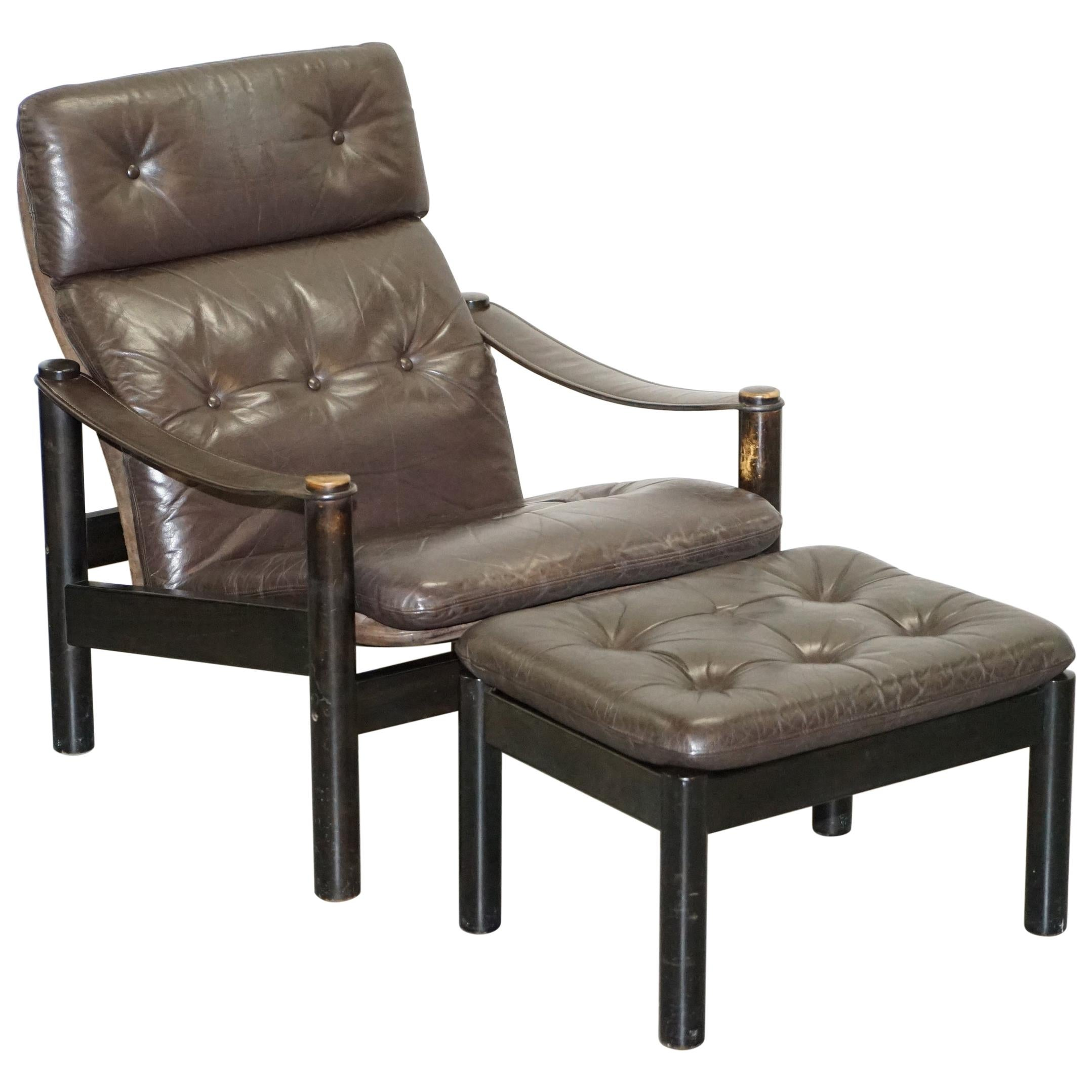 Lovely Danish Brown Leather Mid-Century Modern Armchair & Chesterfield Footstool