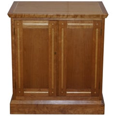 Lovely David Linley Attributed Walnut & Satinwood Cupboard with Sliding Drawers