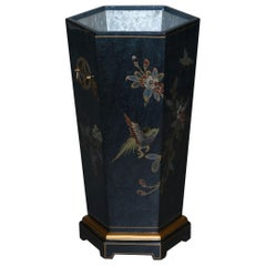 Lovely Decorative Chinese Chinoiserie Style Painted Umbrella Walking Stick Stand