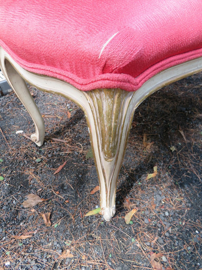 Mid-20th Century Lovely Dorothy Draper Style Cabriole Leg Bench Hollywood Regency For Sale