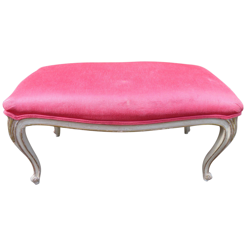 Lovely Dorothy Draper Style Cabriole Leg Bench Hollywood Regency