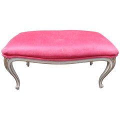 Lovely Dorothy Draper Style Cabriole Leg Bench Hollywood Regency