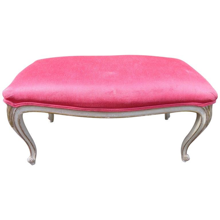 Lovely Dorothy Draper Style Cabriole Leg Bench Hollywood Regency For Sale