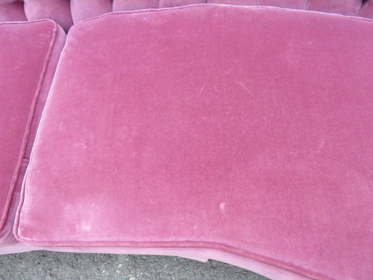Lovely Dorothy Draper Style Lilac Velvet Curved Tufted Sofa Hollywood Regency For Sale 4