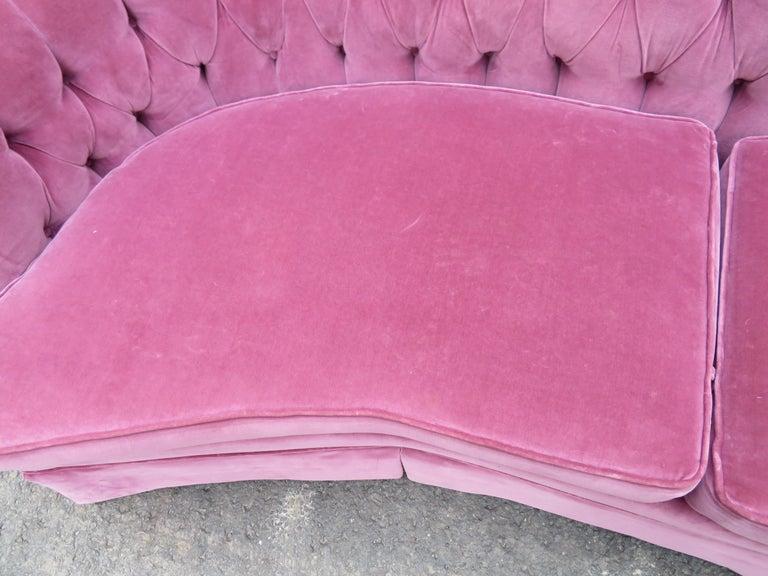 Lovely Dorothy Draper Style Lilac Velvet Curved Tufted Sofa Hollywood Regency For Sale 5